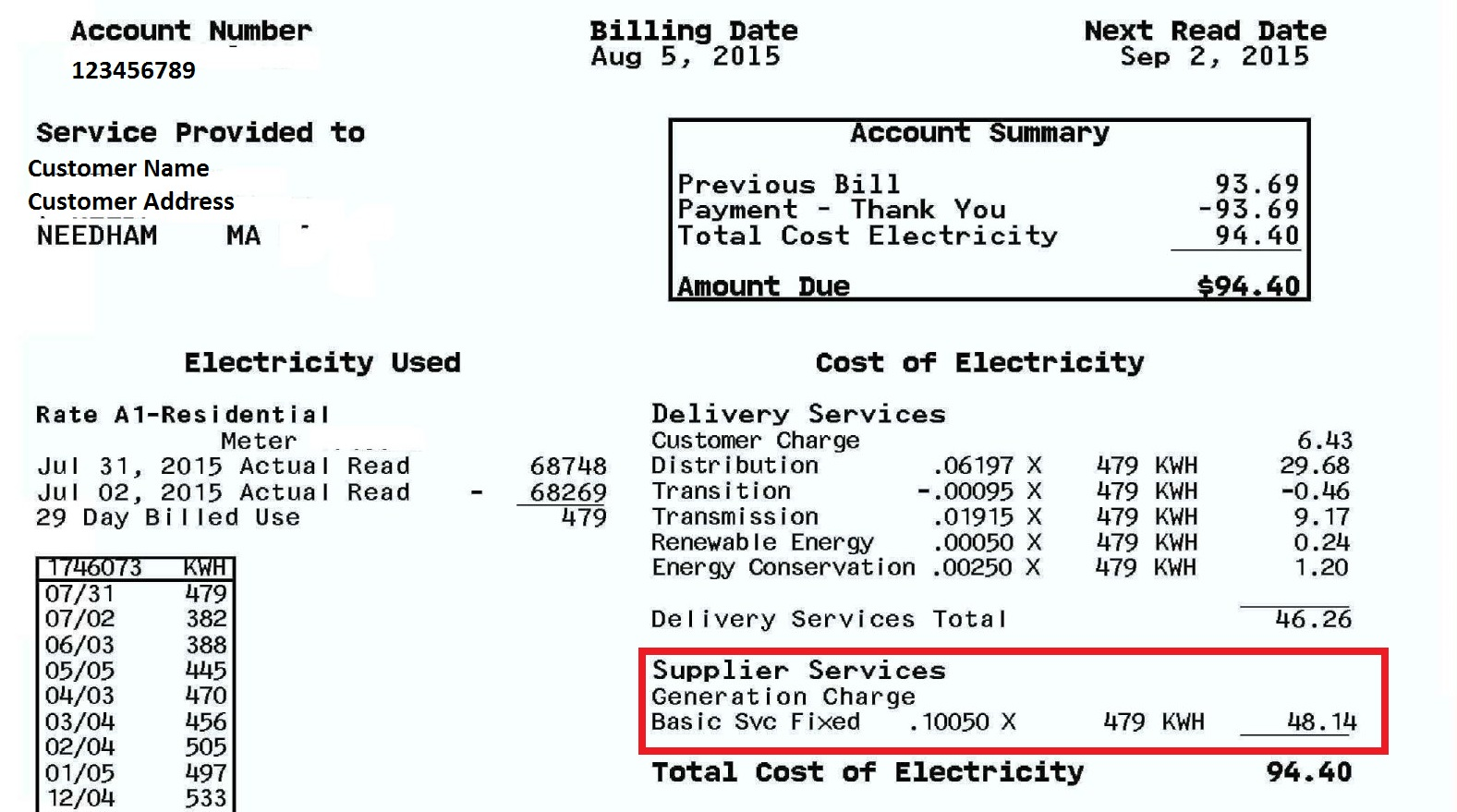 "Electric Bill I ~ Buying green electricity from a ""competitive supplier"