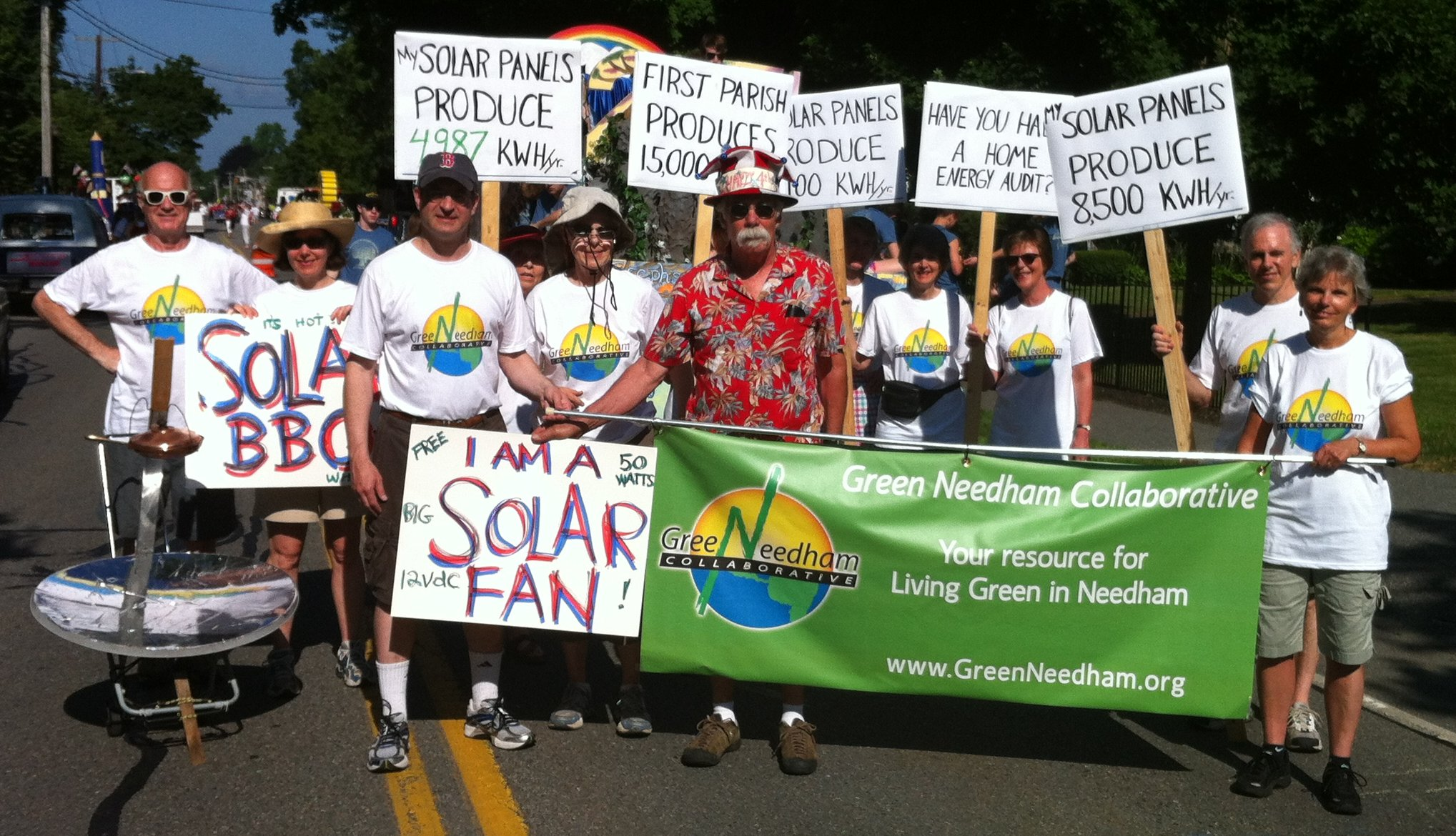 Green Needham celebrates at the 4th of July parade