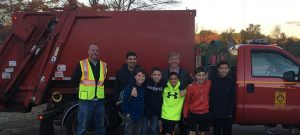 Michael Kascak, Walter Godoy, and an employee of the Natick RTS with five of the original Radioactive Hamburgers, L to R Daniel King, Zachary Brown, Dilin Meloni, Noah Dooley, and Adam Kuechler, the first week that Natick picked up food waste for Hillside.