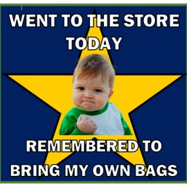 Needham's largest retail outlets are now in compliance with the Select Board's Plastic Checkout Bag Policy