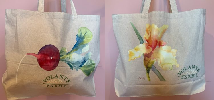 Volante Farms latest reusable canvas tote bag features a local artist and supports Green Needham