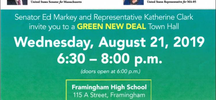 Green New Deal town hall with Senator Ed Markey in Framingham